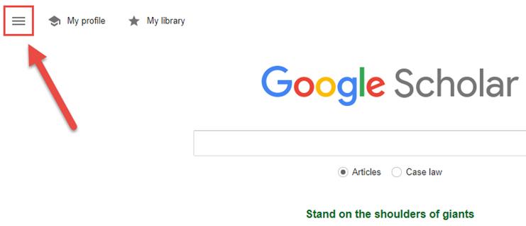 Google Scholar Options Menu Button