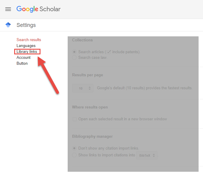 Google Scholar Library Links Menu Option