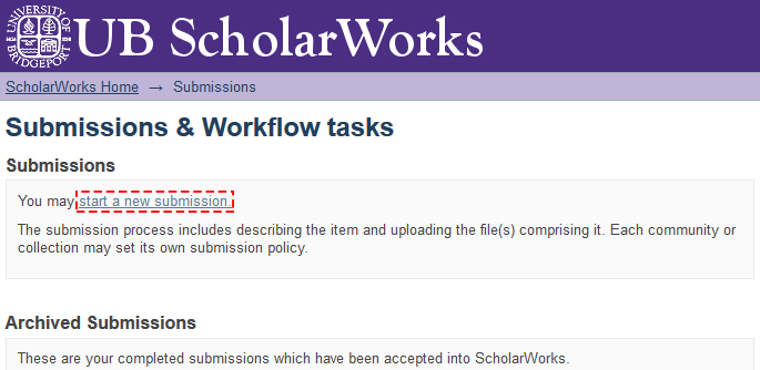 ScholarWorks submit from the submissions page