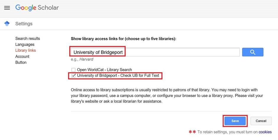 Select UB from the Google Scholar options