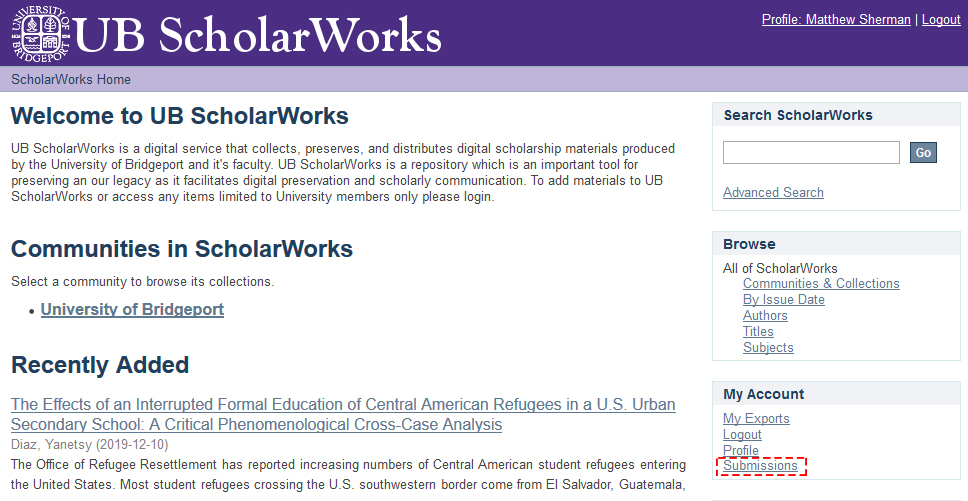 A photo of where to find the submissions link in ScholarWorks